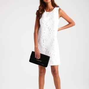Banana republic sleeveless leaf lace white dress